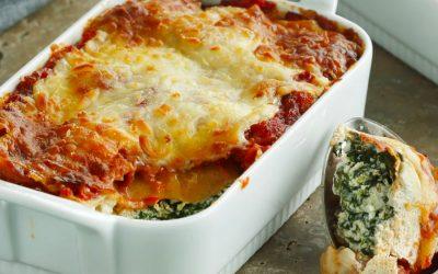 Lækker opskrift på hjemmelavet vegetar spinatlasagne med spinat og ricotta